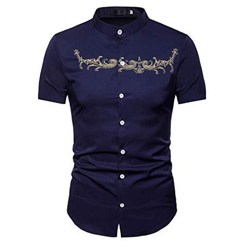 (OVERDOES Mens Hipster Embroidery Mandarin Collar Slim Short Sleeve Casual Dress Shirts)