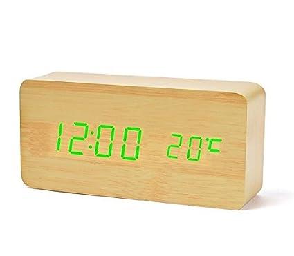 Reloj Despertador Cunze LED Digital Digital Modo de voz de madera Tres alarmas Reloj eléctrico Fecha