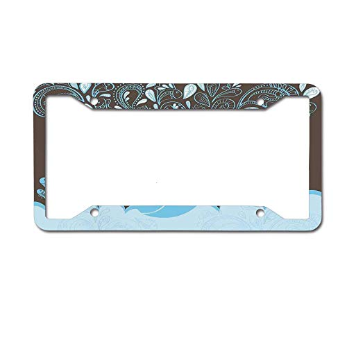 huizehonghong Personalized Metal License Plate Frame Black for Women/Men,Cute Car License Plate Frame Holders - Baloon Like Whale in The Ocean with Bubbles -