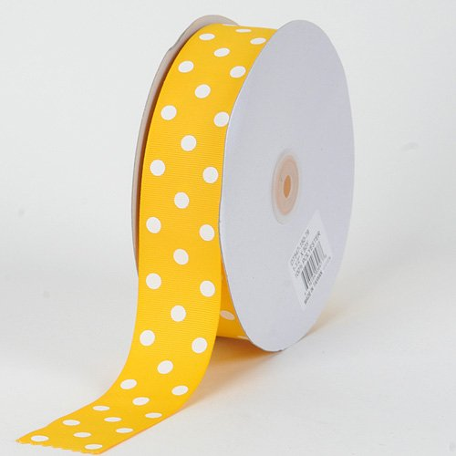 - BBCrafts Yellow with White Dots Grosgrain Ribbon Polka Dot 1-1/2 inch 50 Yards