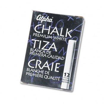 Quartet - Alpha Nontoxic Low Dust Chalk, White, 12 Sticks/Pack 314005 (DMi PK