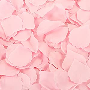 Koyal Wholesale Silk Rose Petals Confetti, Blush Pink, Bulk 1200-Pack Wedding Flowers Table Scatter, Rose Petal Aisle Runner 92