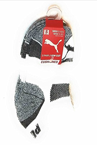 Puma Little Boys 3 Pair Low Cut Cushioned Athletic Socks, White/Grey/Black Sock Size 7-8.5 Shoe Size 9-3.5