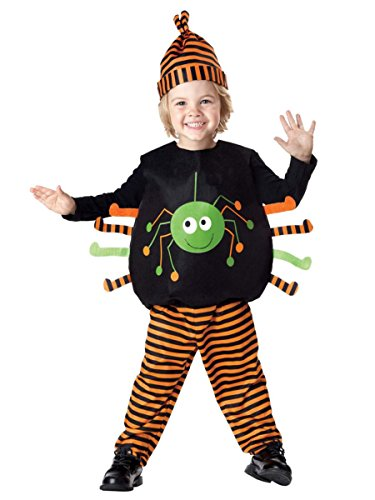 Spider Vest And Hat Infant Costumes (Infant Girls & Boys Plush Tiny Spider Costume with Top Pants & Hat)