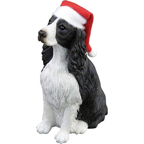 Sandicast Springer Spaniel with Santa Hat Christmas Ornament