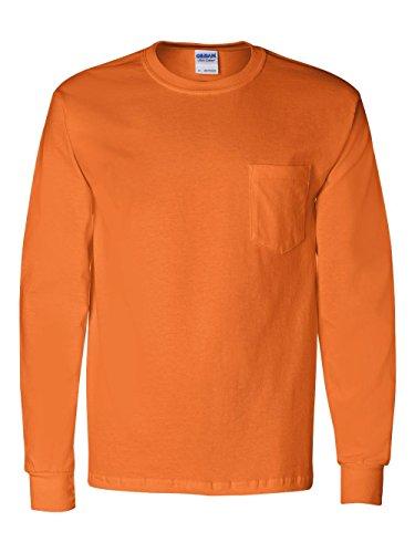 Cotton Adult Pocket T-shirt - Gildan Adult Ultra CottonTM Long-Sleeve T-Shirt with Pocket 2410 - Safety Orange_L