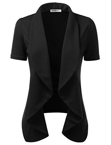 CLOVERY Women's Short Sleeve Stretch Open Front Blazer Jacket Black 2XL Plus (Stretch Short Sleeve Blazer)
