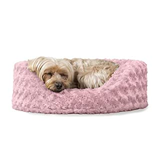 Furhaven Pet Dog Bed - Round Oval Cuddler Ultra Plush Faux Fur Nest Lounger Pet Bed for Dogs and Cats, Pink, Small