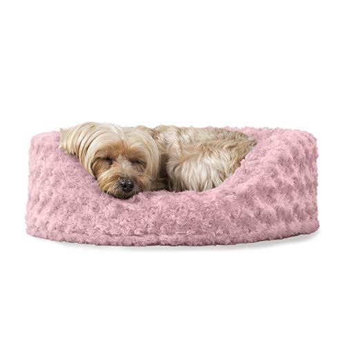 FurHaven Pet Dog Bed | Oval Ultra Plush Pet Bed for Dogs & Cats, Pink, Small ()