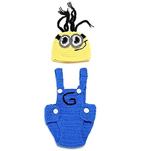 Pinbo Baby Crochet Despicable Me Hat Outfit Minion Costume Photo Photography Props