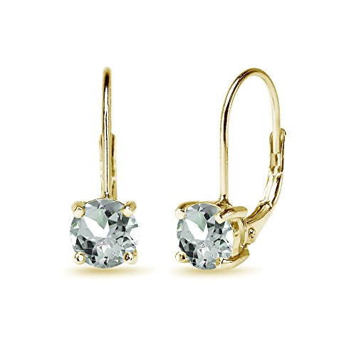 Yellow Gold Flashed Sterling Silver 6mm Round-Cut Light Aquamarine Leverback Earrings