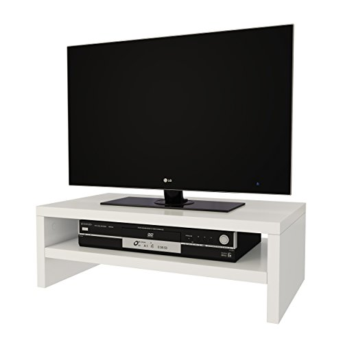 Elegance Wood White Tv-Monitor Riser Stand 17 to 23 inch 1 Tier and 2 Tier Stylish Design Made Of Melamine Particleboard (Small 2 Tier) (Tv Stand Small)