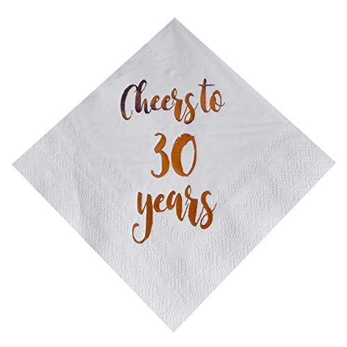 30th Birthday Beverage Napkins - Cheers to 30 Years Cocktail Napkins, 50-Pack 3ply White Rose Gold 30th Birthday Dinner Celebration Party Decoration Napkin
