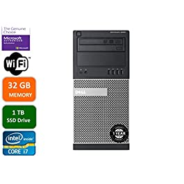 Dell Optiplex 9020 Mini Tower Desktop PC, Intel Core i7-4770-3.4 GHz, 32GB Ram, 1TB (1000GB) SSD Drive, WiFi, DVD-RW…