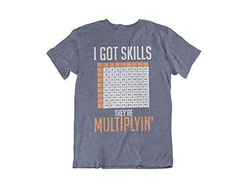Math Teacher T Shirts - Funny Math Shirt for Teachers - I Got Skills Theyre Multiplyin (Large, Heather Navy)