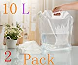 20L/(2x10L)5 Gallon Capacity Foldable Portable Water Carrier Bag -Food Grade PVC -Outdoor Collapsible Transparent Drinking Water Bag Car Water Carrier Container for Camping/Climbing/Picnic/Survival