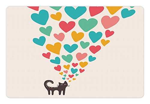 Lunarable Cat Lover Pet Mat for Food and Water, Cute Cat in Love with Colorful Different Size Hearts Happy Sweet Kitty Clipart, Rectangle Non-Slip Rubber Mat for Dogs and Cats, Multicolor (Clipart Pet)