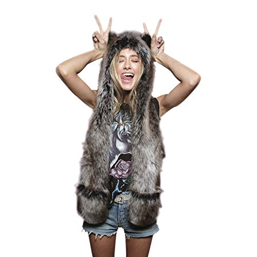Grey Wolf Full Animal Hood Hat Cap Scarf Gloves Mittens Faux Fur Fleece Lined Interior Anime Spirit Paws Ears Zipper Furry Hoodie -