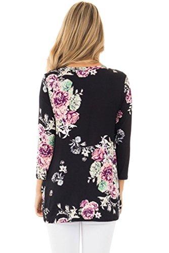 YOUJIA Mujeres Elegant Camisetas de manga 3/4 Estampados florales Irregular Shirt Blusa túnica Tops Negro