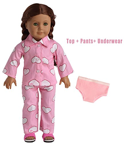 Doll Clothes Pink Sleepwear Pajamas Fits 18 Inches American