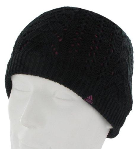 (adidas Women's Powder Beanie Hat, Black/Strong Pink, One Size )