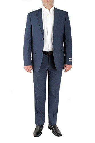 PAOLO GIARDINI Slim Fit Two Piece Men's Suit Birds Eye Pattern 2 Button Side Vents Flat Front Pants (42 Short US Jacket X 36 Waist Pants, DK Blue)