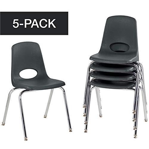 "FDP 18"" School Stack Chair, Stacking Student Chairs with Chromed Steel Legs and Nylon Swivel Glides - Black (5-Pack)"