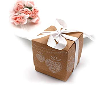 50Pcs Small Kraft Boxes,Christmas Paper Candy Boxes,Vintage Style Box with  Ribbon,Candy