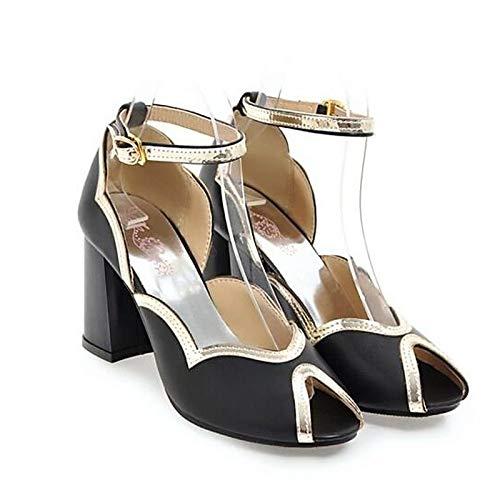 ZHZNVX Zapatos de Mujer PU (Poliuretano) Spring Comfort Heels Chunky Heel Blanco/Negro / Rosa White