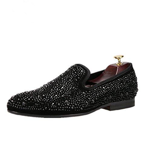 HI&HANN Mens Crystal Suede Genuine Leather Loafer Shoes Slip-On Loafer Round Toes Smoking Slipper
