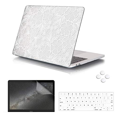 iCasso Hard Case & Keyboard Skin & Screen Protector for MacBook Pro 13 Case 2019 2018 2017 2016 Release with/Without Touch Bar and Touch ID,Lace