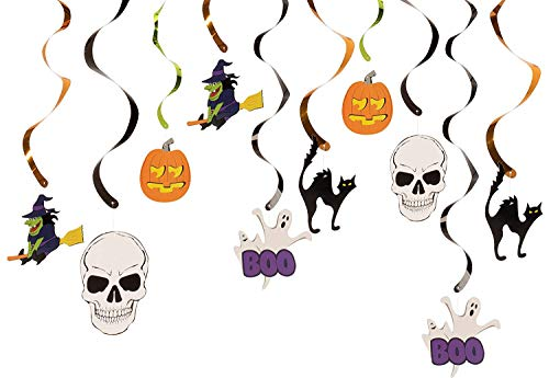 Halloween Swirl Decorations - 30-Count Party Decor for Haunted House Halloween Party Decorations, Ceiling Streamers, Hanging Whirls for Kids, 25.5-37.5 Inches