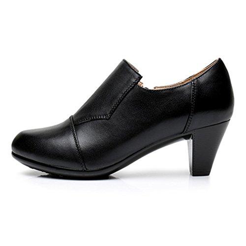 Pumput Vetoketju Slip Kengät Kantapää Loafers Giy on Naisten Teräväkärkiset Oxfords Musta Ruskea Mekko Lohko 5qURwHp