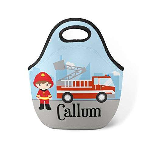 Fire Truck Personalized Lunch Tote - City Firefighter Lunch Bag, Red Firetruck Neoprene Lunch Tote Bag, You Pick Boy - Kid Personalized Gift