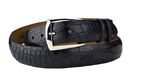 Big and Tall Alligator Belt Strap with Solid Sterling Silver Dress Belt Buckle Extended Sizes by John Allen Woodward (52, Matte ()