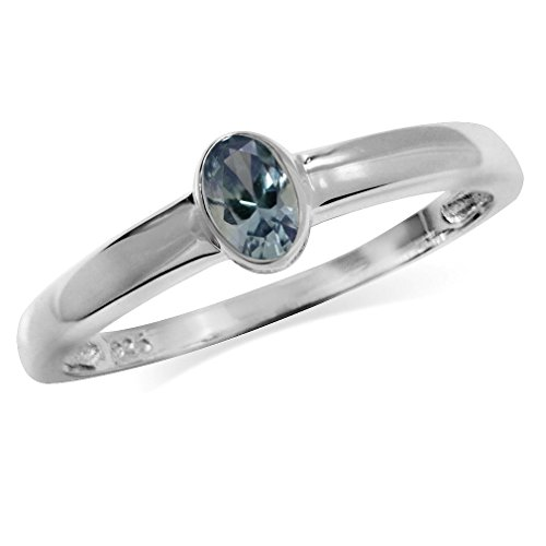 Simulated Color Change Alexandrite 925 Sterling Silver Solitaire Ring Size 9