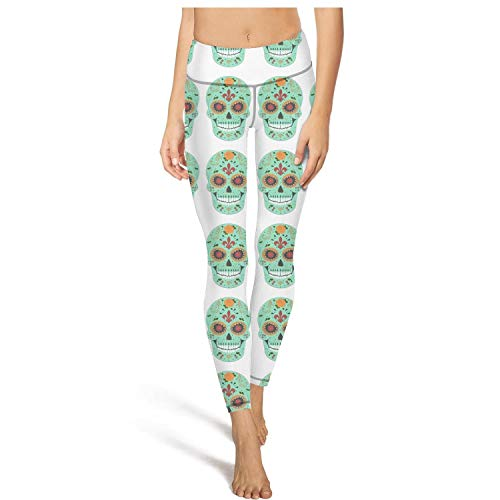 Smiling Flower Sugar Skull Leggings as Pants Exercise Clothes -