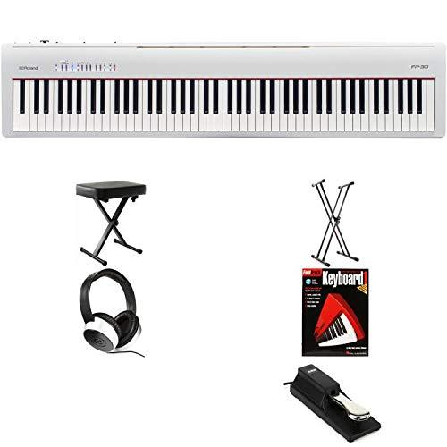Roland FP-30 (White) Essential Keyboard Bundle by Generic