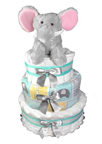 Diaper Cake for a Boy Baby Shower Gift - Elephant Centerpiece - Mint and Gray by Sunshine Gift Baskets