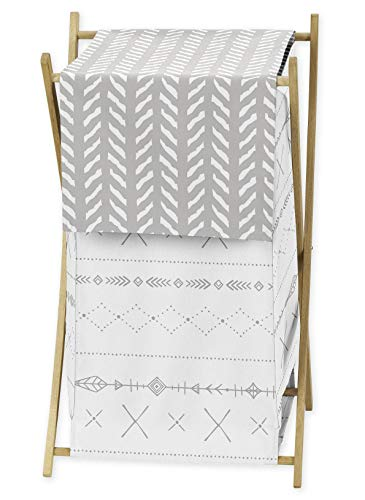 Sweet Jojo Designs Grey and White Boho Tribal Herringbone Arrow Baby Kid Clothes Laundry Hamper for Gray Woodland Forest Friends Collection