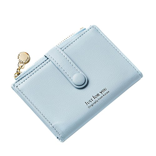 Slim Leather Wallet Credit Card Case Sleeve Card Holder Mini Purse Compact Pocket With ID Window For Cards Coin LightBlue