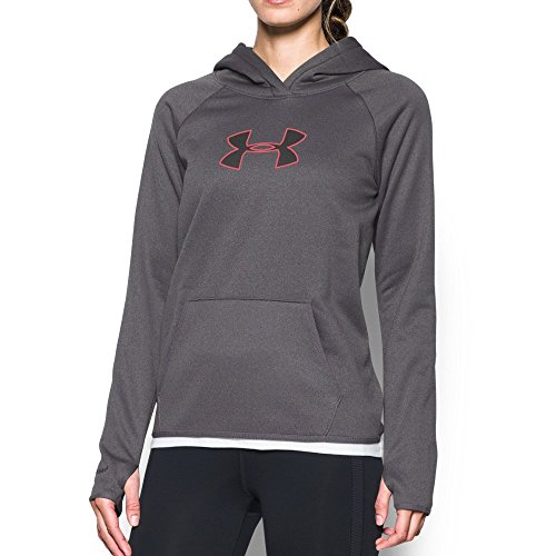 (Under Armour Women's Storm UA Logo Hoodie, Carbon Heather/Pink Sky, Small)