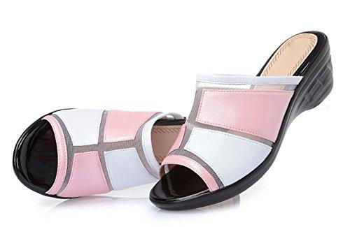 Sommer-Art und Weise kühle Pantoffel weiblicher Hausschuh mit Hang mit Sandalen großer Yards Frau light pink