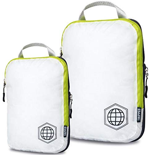 Compression Packing Cubes for Travel - Luggage and Backpack Organizer Packaging Cubes for Clothes (White and Green, 2 Piece Set)