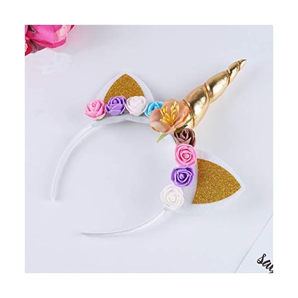 5PC Glitter Unicorn Horn Headband, Flower Ears Unicorn Headbands for Girls, Birthday Party Supplies, Favors and… 5