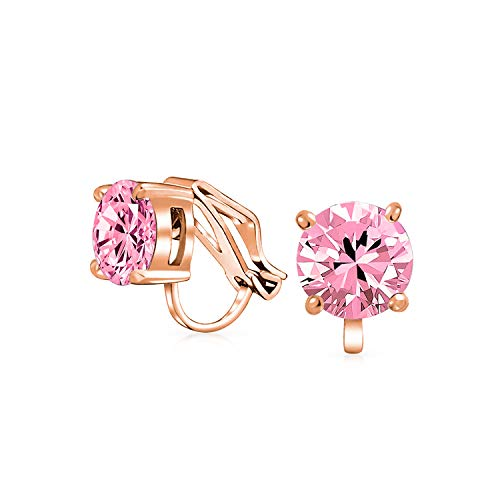 2CT Pink Brilliant Cut Solitaire Round Cubic Zirconia CZ Clip On Stud Earrings For Women Rose Gold Plated Brass ()