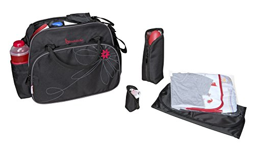 3720de7653 Badabulle Vintage Baby Changing Bag (Black/Pink): Amazon.co.uk: Baby