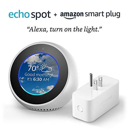 Echo Spot bundle with Amazon Smart Plug – White