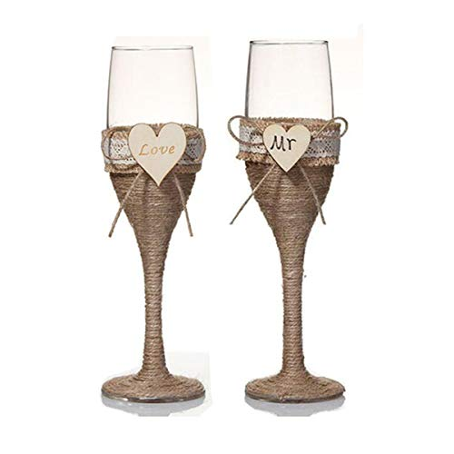7 Oz Lace Pearl Hemp Rope Decoration Wine Glasses Handmade Bride and Groom Champagne Flutes for Toasting,Wedding Gifts,Wedding Favors,Couples Gifts,Wedding - Pearl Heart Toasting Flutes