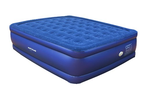Smart Air Beds Raised Deluxe Coil Beam Flock Top Air Bed, Blue, King, Outdoor Stuffs
